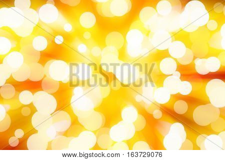 white bokeh blur on yellow background / Circle light on gold background / abstract light background