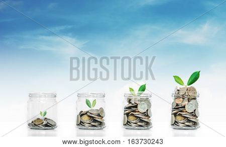 Money saving growth concepts, glass jar with coins and plants growing, on sky background