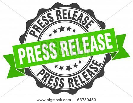 press release. stamp. sign. seal. round. retro. ribbon