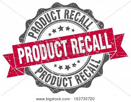 product recall. stamp. sign. seal. round. retro. ribbon