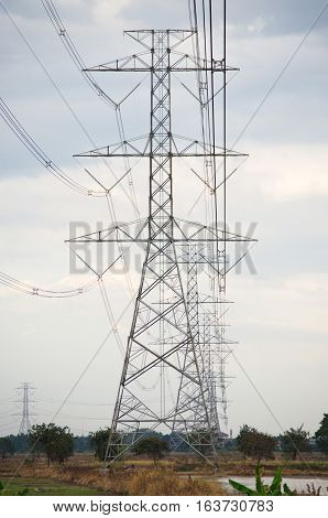 Electrical .Poles and power lines. Supply electricity to rural areas.