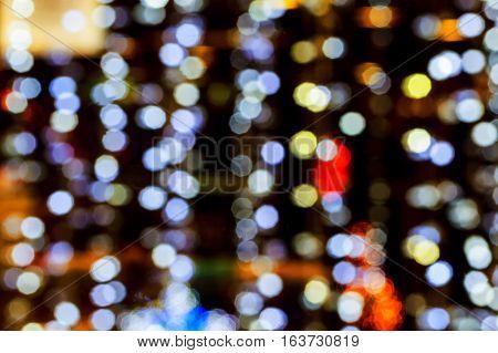 Bokeh christmas light decor background. Christmas bokeh
