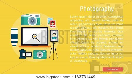 Photography Conceptual Banner | Great flat illustration concept icon and use for design, development, analysis, creative idea, event and much more.