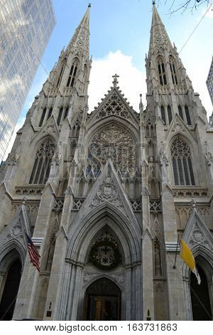 Looking up at Church in New York City