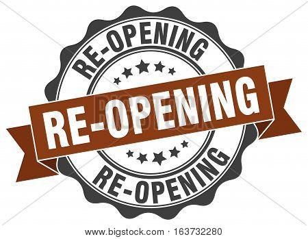 re-opening. stamp. sign. seal. round. retro. ribbon