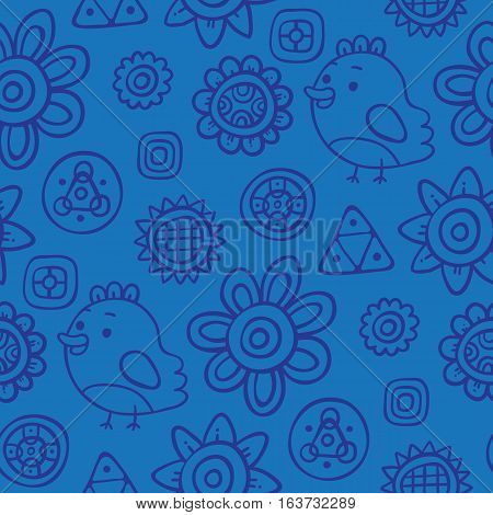 Cute Seamless Pattern With Birds And Flowers On Blue Background. Eps-10 Vector
