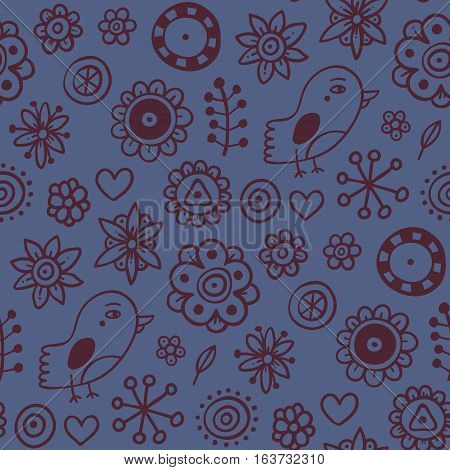 Cute Seamless Pattern With Birds And Flowers On Dark Blue Background. Eps-10 Vector