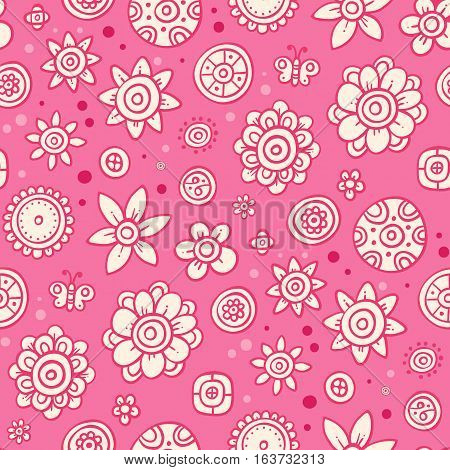 Cute Seamless Pattern With Flowers And Abstract Elements On Pink Background. Eps-10 Vector