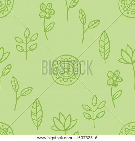 Cute Seamless Pattern With Flowers And Abstract Elements On Green Background. Eps-10 Vector