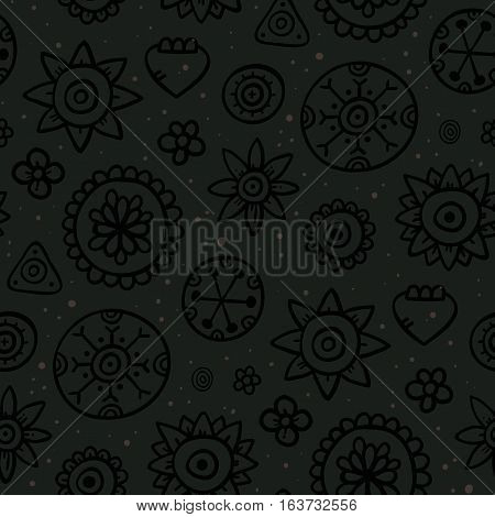 Cute Seamless Pattern With Flowers And Abstract Elements On Dark Background. Eps-10 Vector