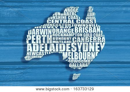 Map of Australia made from cities list. Wood texture