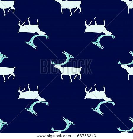Seamless pattern. Ice deer Northern nature. Northern nature
