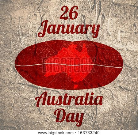 Map of Australia printed on woman lips. 26 January Australia Day text. Grunge textured backdrop