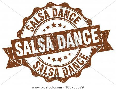 salsa dance. stamp. sign. seal. round. retro. ribbon