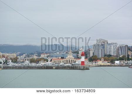 SOCHI RUSSIA SEPTEMBER 22 2016:Sea port of Sochi in the september day.
