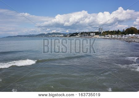 SOCHI RUSSIA SEPTEMBER 25 2015: View of the beach in the Sochi Russia
