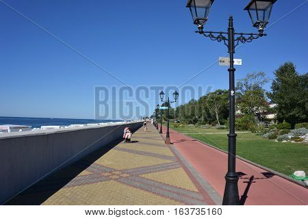 SOCHI RUSSIA OCTOBER 1 2016: View of the beach in the Sochi Russia