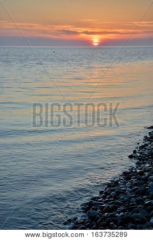 Sunset over the sea in the Bay of Imereti. Sochi Russia