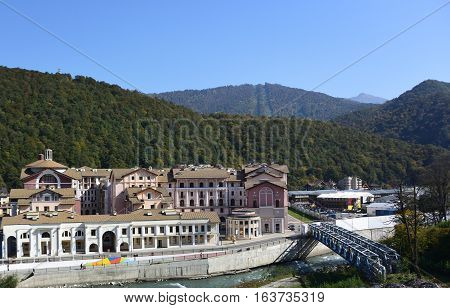 KRASNAYA POLYANA SOCHI RUSSIA 26 OCTOBER 7 2016: View of the Estosadok Krasnaya Polyana Sochi Russia.