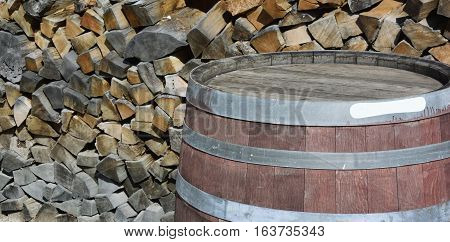 Barrel on the background of wood harvested, Sochi, Russia