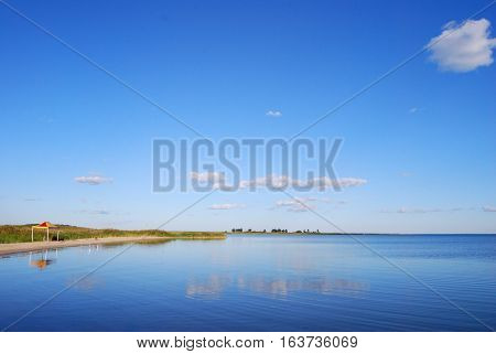 Lake Chany in summer day, Novosibirsk region Siberia Russia