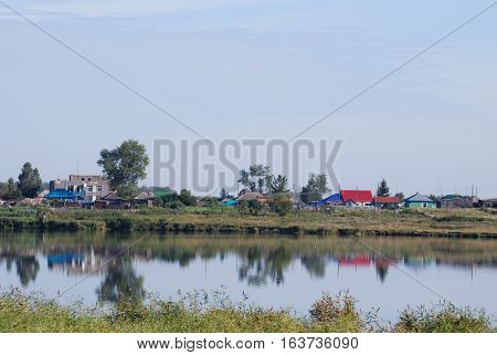 View of a remote Siberian village Zuzya Novosibirsk region Russia