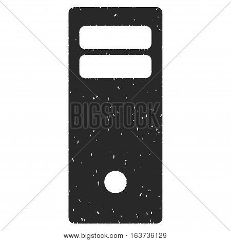 Computer Mainframe grainy textured icon for overlay watermark stamps. Flat symbol with unclean texture. Dotted vector gray ink rubber seal stamp with grunge design on a white background.