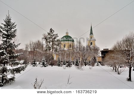 OMSK RUSSIA - DECEMBER 2015: St. Nicholas Cathedral Cossack. Built in 1833.