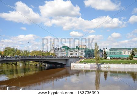 Omsk Russia - May 9: Om River in spring the city of Omsk Siberia Russia