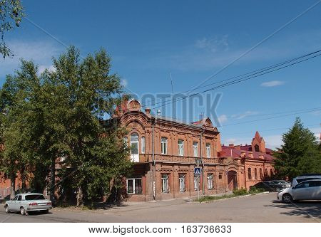 OMSK RUSSIA - MAY 2016: A view of the old building - the brothers camaraderie Kolmakova house year of construction 1901