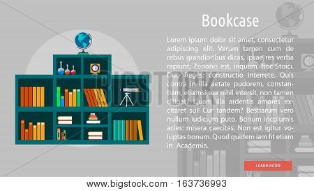 Bookcase Conceptual Banner | Great flat icons with style long shadow icon and use for teacher, education, science, analysis, knowledge, learning, event and much more.