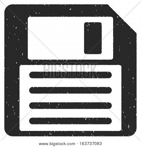 Floppy grainy textured icon for overlay watermark stamps. Flat symbol with unclean texture. Dotted vector gray ink rubber seal stamp with grunge design on a white background.
