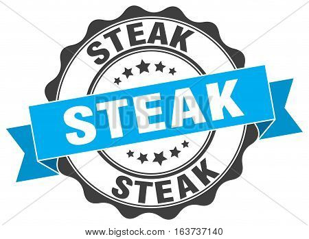 steak. stamp. sign. seal. round. retro. ribbon