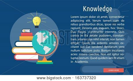 Knowledge Conceptual Banner | Great flat icons with style long shadow icon and use for teacher, education, science, analysis, knowledge, learning, event and much more.