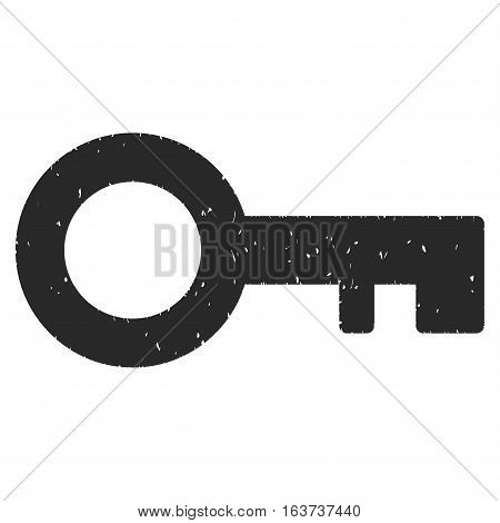Key grainy textured icon for overlay watermark stamps. Flat symbol with dust texture. Dotted vector gray ink rubber seal stamp with grunge design on a white background.