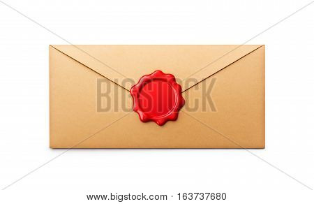 Wax seal on envelope isolated on white background - 3D Rendering