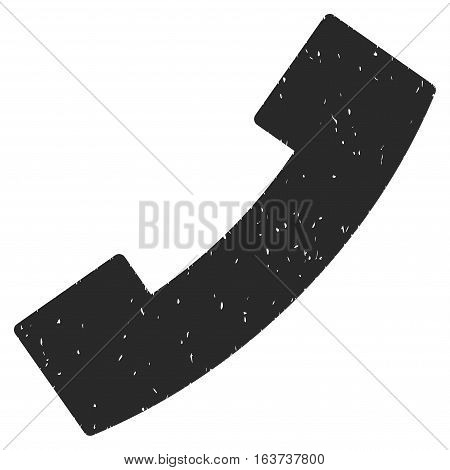 Phone Receiver grainy textured icon for overlay watermark stamps. Flat symbol with dust texture. Dotted vector gray ink rubber seal stamp with grunge design on a white background.