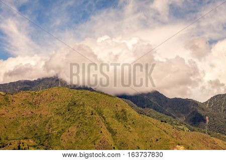 Alpine Landscape With Peaks Covered By Fog And Clouds Andean Cordillera South America