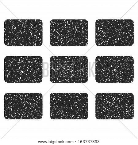 Rectangles Grid grainy textured icon for overlay watermark stamps. Flat symbol with dust texture. Dotted vector gray ink rubber seal stamp with grunge design on a white background.