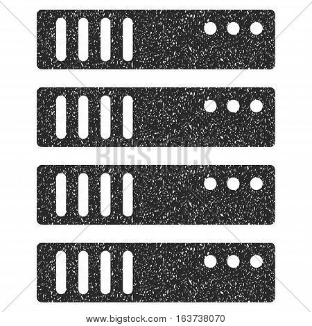 Server grainy textured icon for overlay watermark stamps. Flat symbol with unclean texture. Dotted vector gray ink rubber seal stamp with grunge design on a white background.