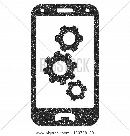 Smartphone Settings grainy textured icon for overlay watermark stamps. Flat symbol with unclean texture. Dotted vector gray ink rubber seal stamp with grunge design on a white background.