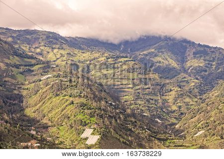 Mountain Village On A Summer Day Andean Cordillera South America