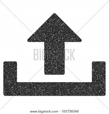 Upload grainy textured icon for overlay watermark stamps. Flat symbol with unclean texture. Dotted vector gray ink rubber seal stamp with grunge design on a white background.