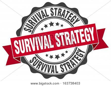 survival strategy. stamp. sign. seal. round. retro. ribbon