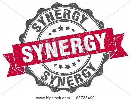 synergy. stamp. sign. seal. round. retro. ribbon