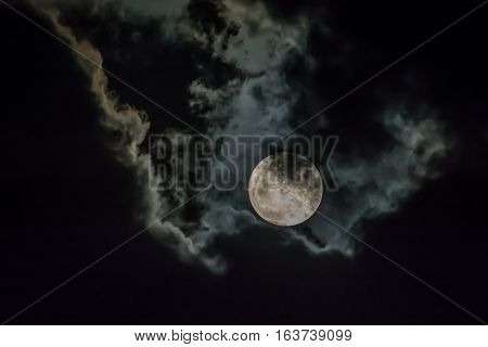 night sky with moon and cloud space
