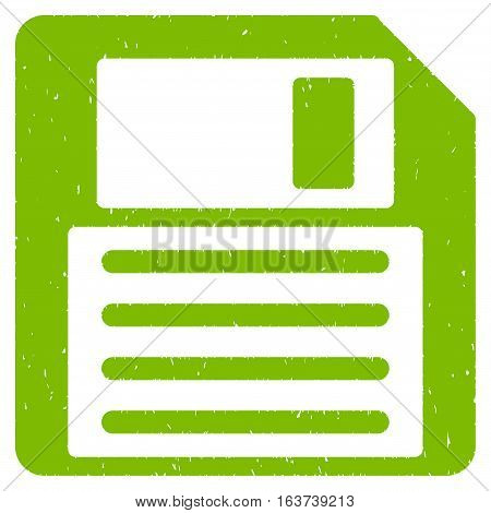 Floppy grainy textured icon for overlay watermark stamps. Flat symbol with dirty texture. Dotted vector light green ink rubber seal stamp with grunge design on a white background.