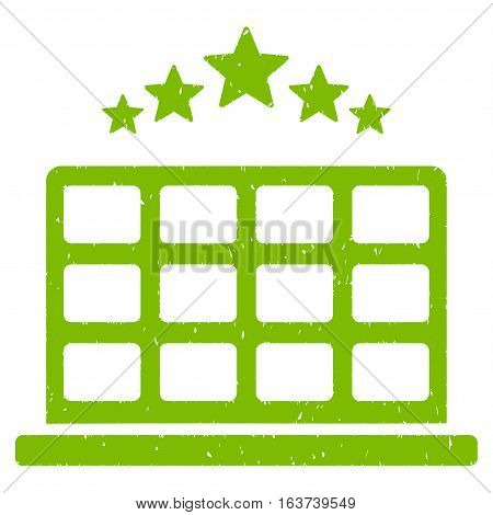 Hotel Stars grainy textured icon for overlay watermark stamps. Flat symbol with scratched texture. Dotted vector light green ink rubber seal stamp with grunge design on a white background.