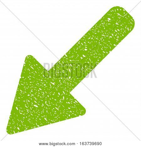 Left Down Arrow grainy textured icon for overlay watermark stamps. Flat symbol with dirty texture. Dotted vector light green ink rubber seal stamp with grunge design on a white background.