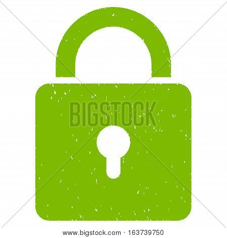Lock grainy textured icon for overlay watermark stamps. Flat symbol with scratched texture. Dotted vector light green ink rubber seal stamp with grunge design on a white background.